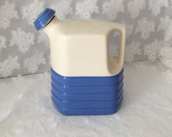Vintage Universal Potteries Water Jug Milk Jug Blue and Cream Jug Cork Stop