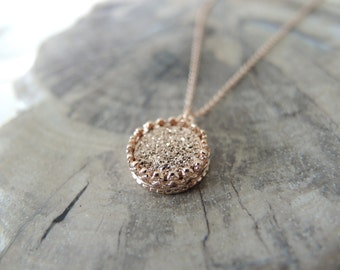 Rose Gold Druzy Necklace, Druzy Necklace, Druzy Stone Necklace, Crown Bezel Pendant Necklace, Druzy Jewelry Gifts For Her, Rose Gold Pendant
