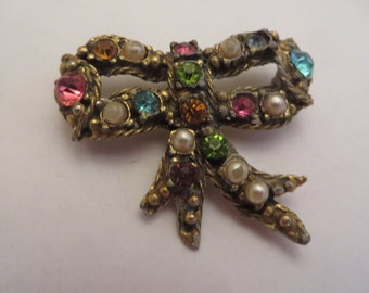 Vintage Gold Tone Colorful Bow Rhinestone and Pearl Brooch