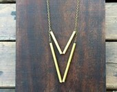 Brass Chevron // Pendant // Handmade Jewelry //