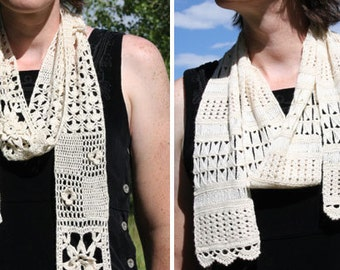 Lacy Scarves - Beaded Broomstick Lace and Floral Scarf - CROCHET PATTERN from Twins Face Off Design Challenge