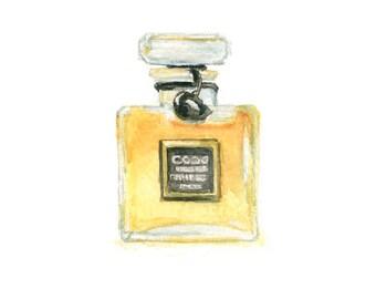 Watercolor Perfume Bottle, Perfume Bottle Print, Coco Perfume Print