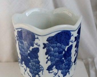 Vintage Delf Blue Vase, Blue and White Ceramic Vase, Blue Grapes Design Vase.