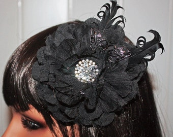 Large Black Vintage Style Hair or Accessory Clip with Butterfly and Jeweled Embellishment