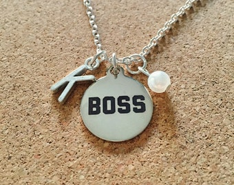 Personalized Boss Necklace with Your Initial and Birthstone