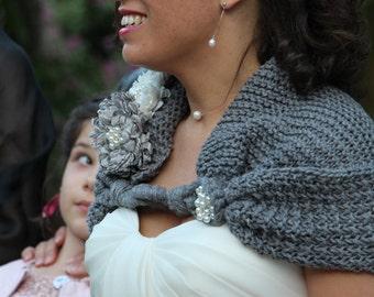 Bridal Shawl, Bridesmaid Shawl, Wedding Shawl, grey wedding, grey shawl, knit shawl, bridal shawl, bridal accessories, wedding accessories