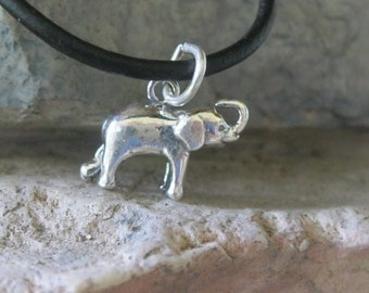 Elephant Charm Sterling Silver Charm 3D Double Sided Charm 1 Piece