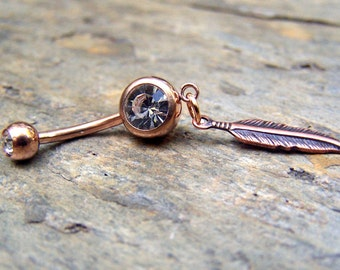 Rose Gold Belly Ring Dreamcatcher Dream Catcher Navel Jewelry FeatherBellybutton Ring Body Jewelry