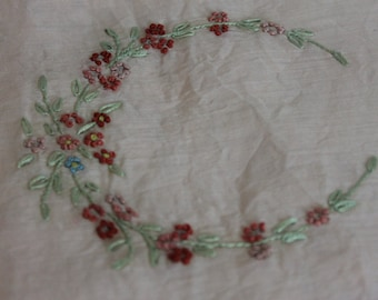 Antique Victorian Pillow Cover Hand Embroidered Square Pink