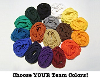 TEAM COLORS NECKLACE, You choose from 17 Athletic Colors, Fabric Necklace, Tshirt Scarf, School Colors