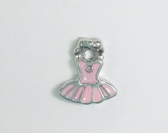 1 PC - Ballet Dress Ballerina Enamel Silver Charm for Floating Locket Jewelry F0007