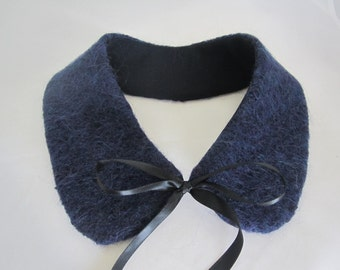 Navy colored mohair/wool blend Peter Pan collar with satin ties removable collar