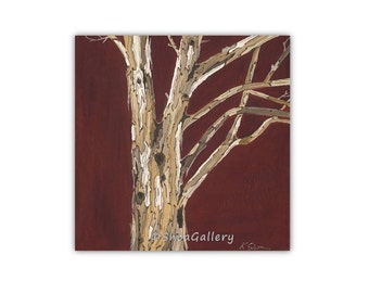 Oxblood red large Wall Art canvas print living room wall decor tree trunks bedroom artwork kitchen dining room home modern office art giclee