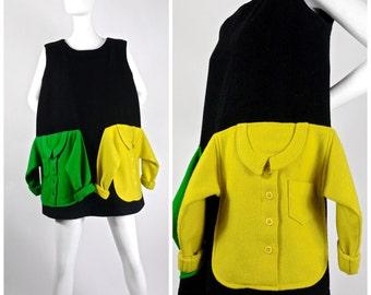Vintage JEANS CHARLES de CASTELBAJAC Novelty Sweater Pockets Applique Dress