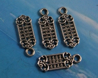 10 Abacus Charms, Tibetan Silver 18 x 7 mm Double Sided  - ts771