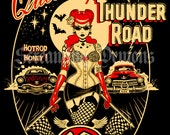 Thunder Road, Rockabilly, Pinup, tattooed Pinup,Art Print,Kustom Art, Lowbrow Art,Hot Rod Art,  Art Print by Marcus Jones