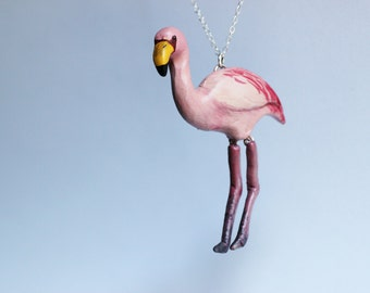 Flamingo Necklace with Dangly Legs - He can probably dance better than me.