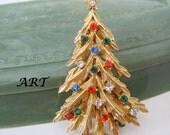 Christmas Tree Brooch Signed ART Multicolor Rhinestone