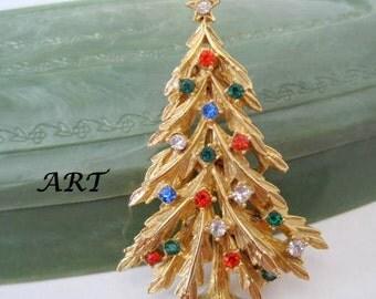 Christmas Tree Brooch - Signed ART - Multicolor Rhinestone pin