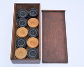Vintage Set of Quality Boxwood Draughtsmen In the Original Box Vintage Checkers Vintage Draughts Vintage Board Game Traditional Game
