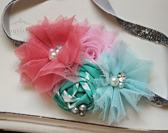 Coral, Aqua, Pink and Silver headbands, newborn headbands, aqua headbands, aqua headbands, photography prop
