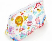 Cosmetic pouch/bag with white cute animal print fabric