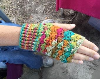 Handmade Crochet Fingerless Gloves -  Multi-Color