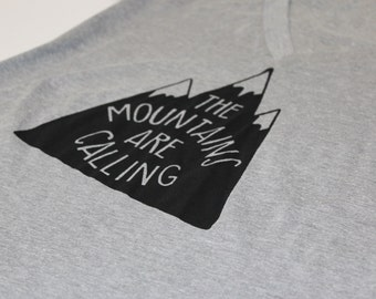 The mountains are calling// Screen-printed womens' cotton-poly deep V-neck tee
