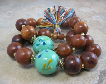Boho turquoise and Bayong wood bead bracelet with multicolored cotton tassel