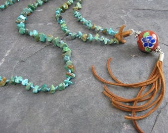 Long Kingman turquoise necklace with sterling silver, deerskin leather tassel and vintage porcelain bead - Luxury Boho chic