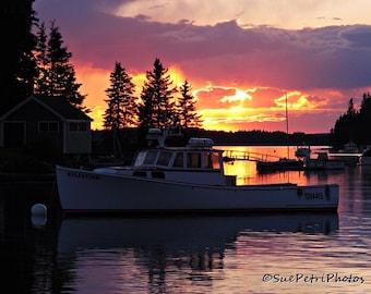 Nautical Sunset, Sunset Photos, Bar Harbour, Maine, Nautical Decor, Cottage Chic, Color Photography, Landscapes, Seascape, Pastels, Nautical