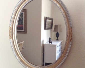 Gold and Silver French Regency Oval  Accent Wall Mirror