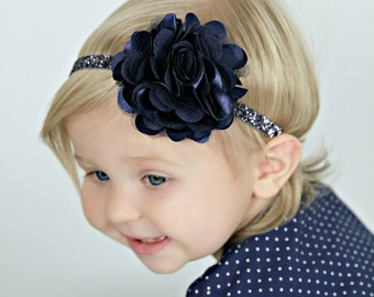 Navy Blue Glitter Headband with Satin & Tulle - Midnight Blue -  Baby Infant Toddlers Girls Women - Navy Headband  - Navy Flower Girl