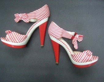 Red & White Cloth Striped Peep Toe High Heel Pumps US Size 8