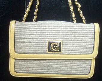 Anne Klein Raffia Yellow Vinyl Trim Handbag