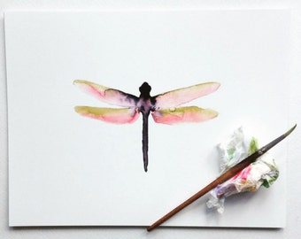Watercolor Dragonfly Art.  Nature Art.  Nursery Decor.