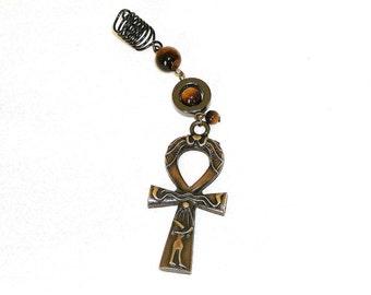 Dreadlock Jewelry - Antique Gold Tiger Eye Ankh Loc Jewel