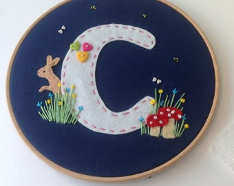 Monogram  Nursery hoop art - woodland themed nursery art - initial baby art - new baby gift