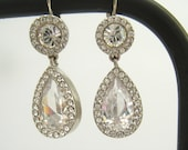 SALE Rhinestone Drop Vintage Earrings with Clean Silver Tone Bezels, Nice Size Pear Shape Drops with Pave Borders.