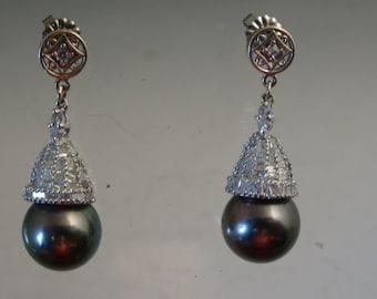 18k White Black South Sea Pearl and Diamond Earrings