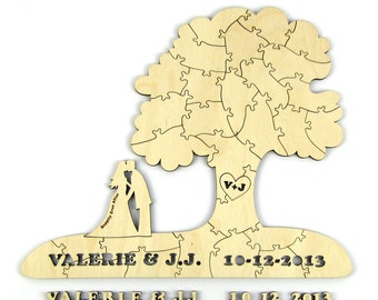 """150 Piece Alternative Wedding Guest Book Puzzle - """"Tree on Hill"""" - Laser Cut with Custom Names, Initials in Heart, and Bridal Silhouette"""