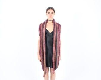 SALE - 90s Rainbow Stripe Technicolour Knit Crochet Festival Vest / Gilet Mini Dress