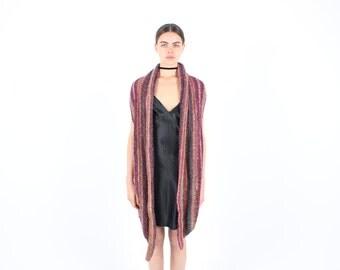 90s Rainbow Stripe Technicolour Knit Crochet Festival Vest / Gilet Mini Dress