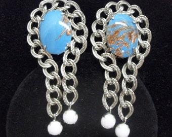 Hobe Turquoise Gold Fluss Earrings Art Glass Milk Glass Silver Chain Link Clip On Dangle Earrings Southwest Style Earrings DD 426