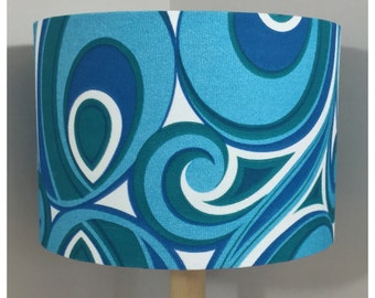 Lamp Shade Original Vintage 70s Blue Psychedelic Fabric