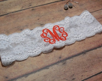 Monogrammed Garter, Monogram, Personalized Garter, Orange Garter, Fall Garter, Garter, Custom Garter, Wedding, Bride, Bridal, Brides Garter