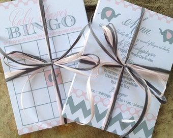 Baby Shower Menu and Bingo, 5x7