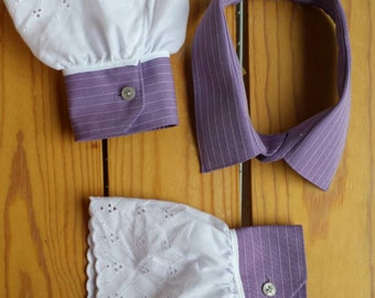 Upcycled Steampunk Clothing - Shirt Collar and Cuffs Purple with White Eyelet Lace Trim - Mad Hatter - Alice in Wonderland
