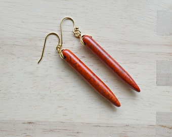 Red Spike Howlite Dangle Earrings -  T101