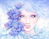 Blue Fantasy Female Portrait Art Print - Larkspur Flower Painting - Watercolor Girl Illustration Ethereal Wall Decor